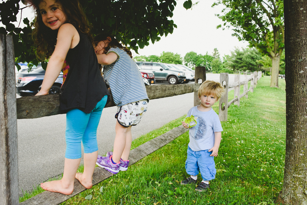 Francesca Russell Photography | Long Island Family Photographer | Children on fence