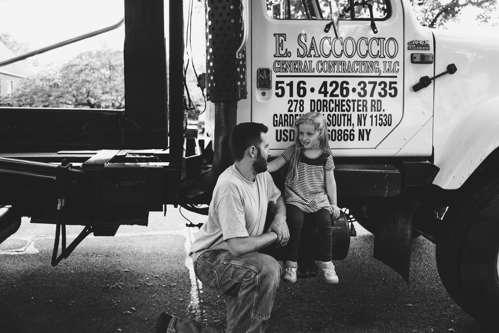 Francesca Russell Photography | Long Island Family Photographer | Dad and daughter sitting on truck