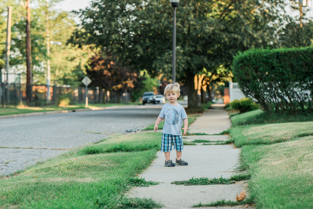 Francesca Russell Photography | Documentary Family Photographer on Long Island | Little Boy on a walk