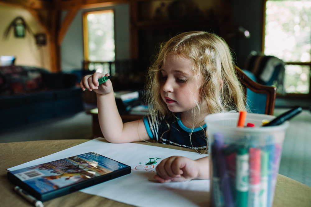 Francesca Russell Photography | Documentary Family Photographer on Long Island | Girl drawing