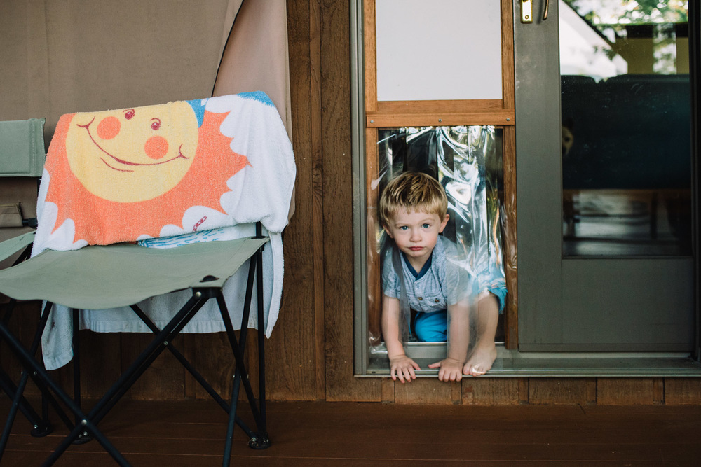 Francesca Russell Photography | Documentary Family Photographer on Long Island | Boy going through doggie door