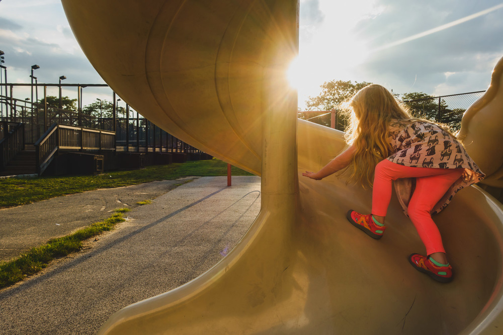 Francesca Russell Photography | Long Island Family Documentary Photography | Climbing the slide