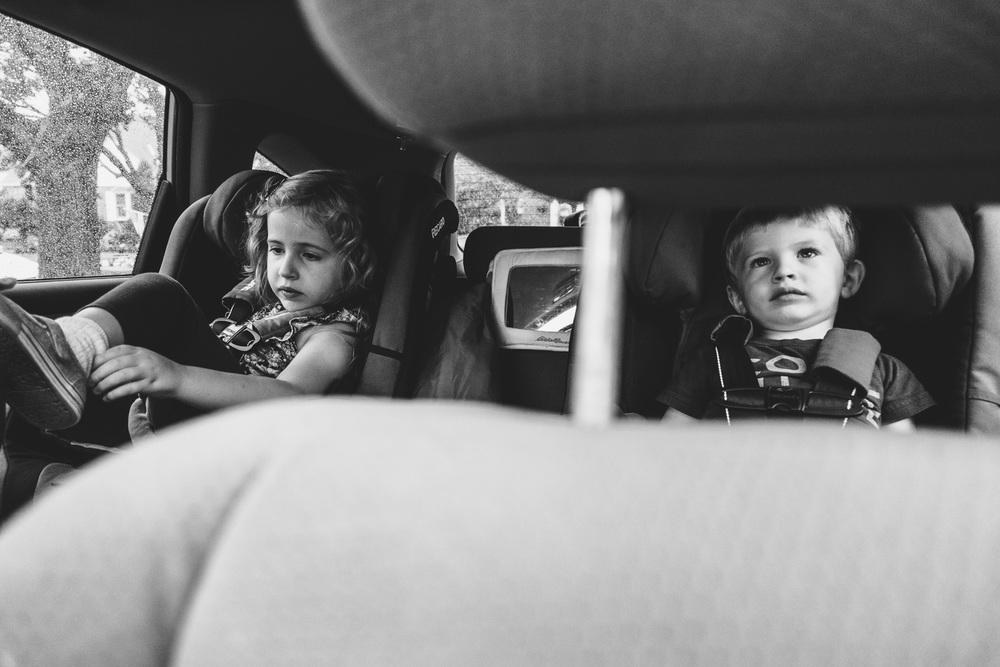 Francesca Russell Photography | Long Island Family Documentary Photography | Kids in the car