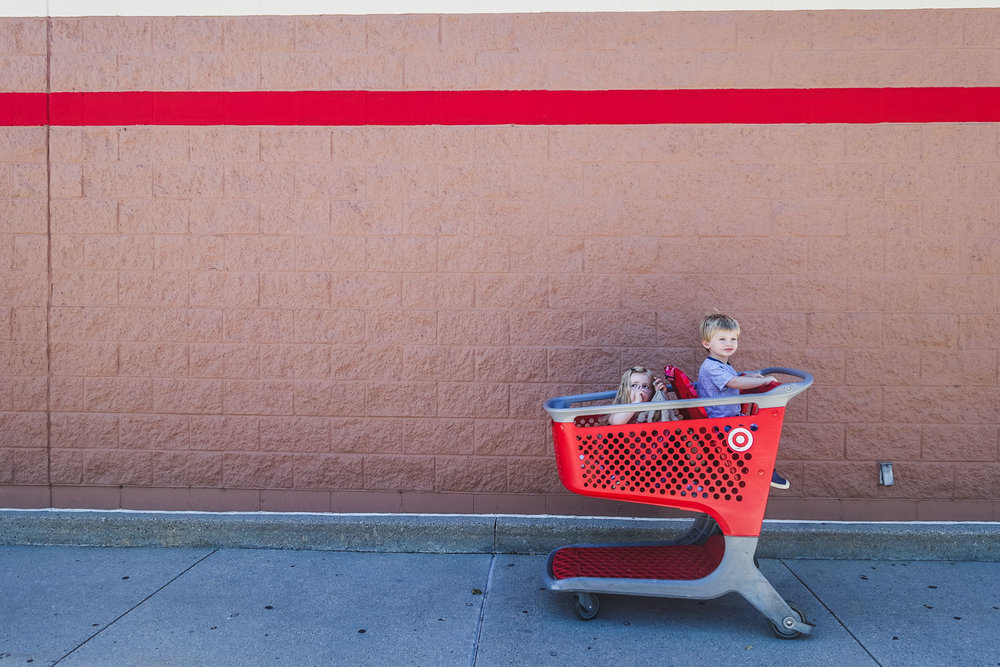 Francesca Russell Photography | Long Island Family Photographer | Kids in cart at Target