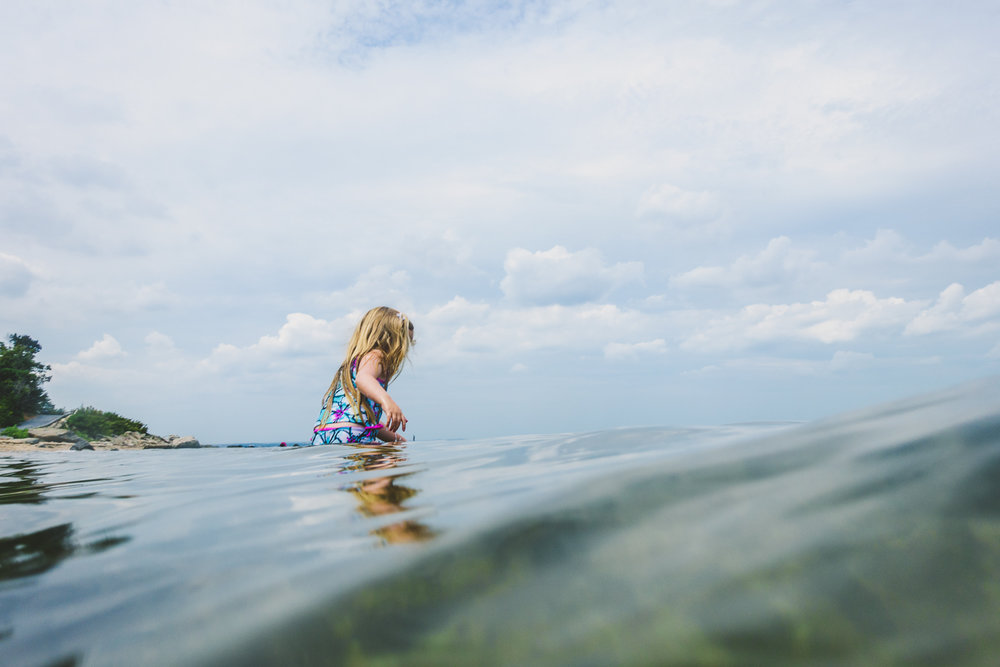 Francesca Russell Photography | Long Island & New York City Family Photographer | Lila swimming in the Sound