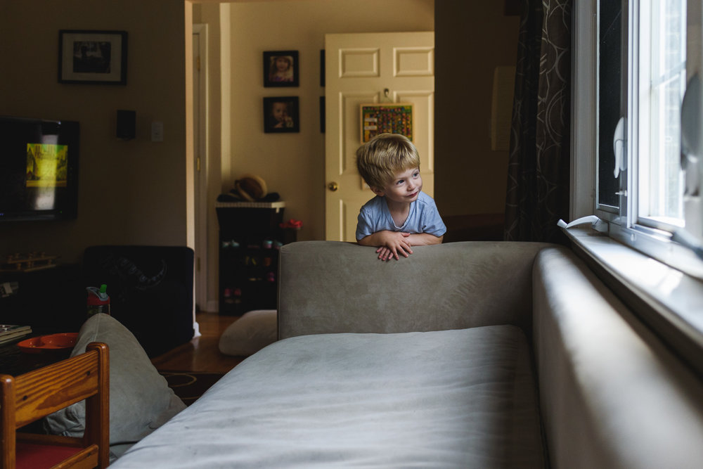 Francesca Russell Photography | Long Island Family Photographer | Logan looking out the window