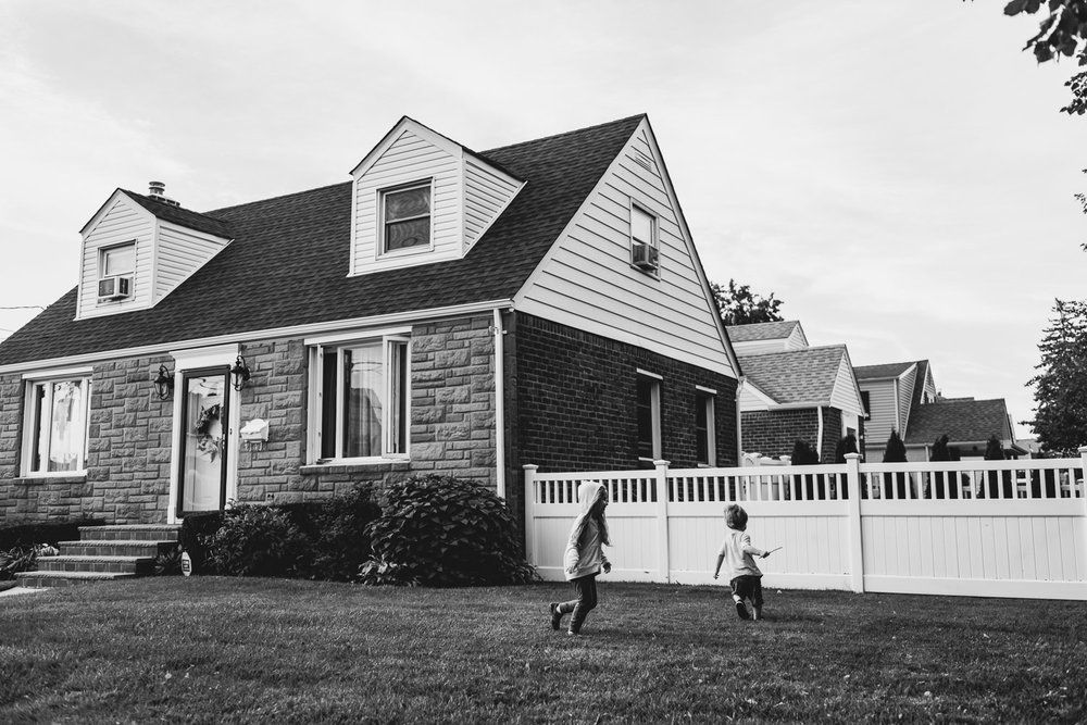Francesca Russell Photography | Long Island Family Photographer | Running in the neighbor's yard