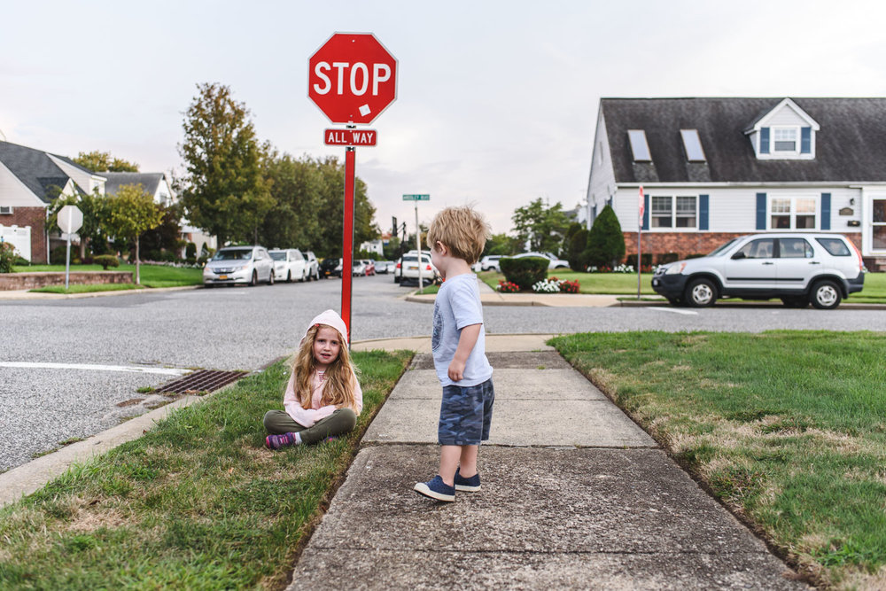 Francesca Russell Photography | Long Island Family Photographer | Break at the stop sign