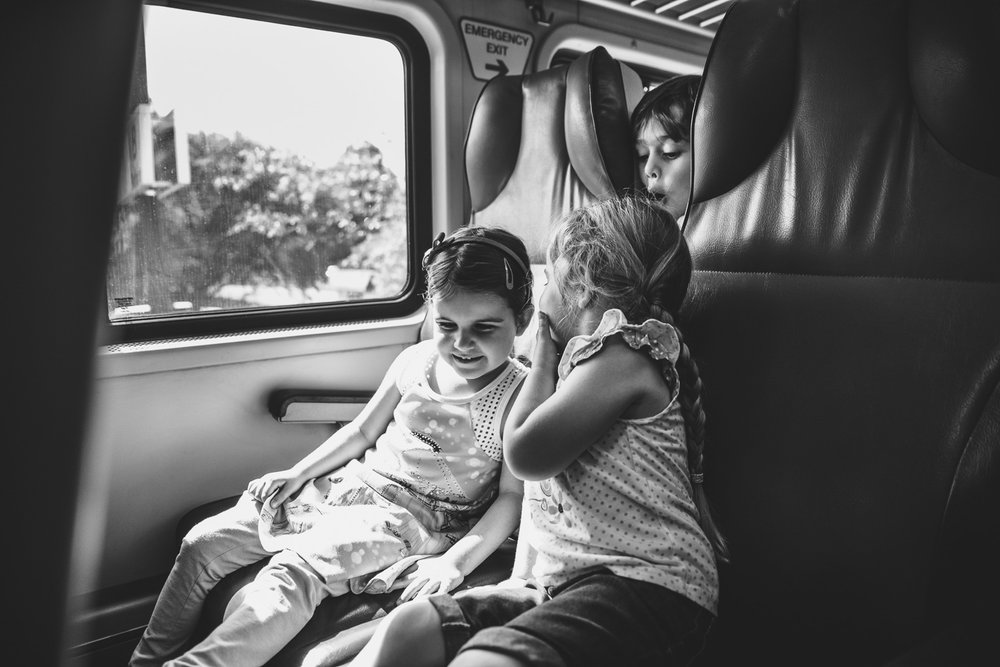 Kids on a LIRR train to Oyster Bay.