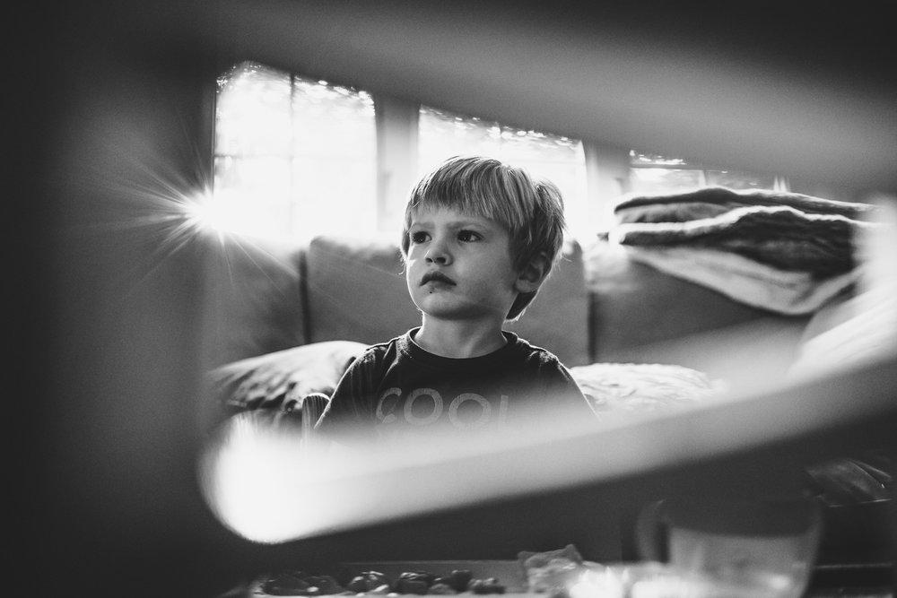 Boy watching TV.