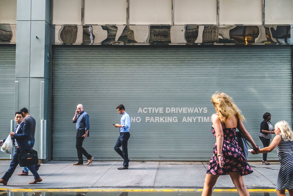 A busy day in midtown Manhattan - active driveway is right!