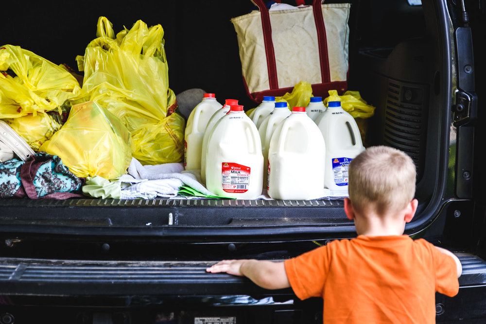 Unloading milk from the back of the car.