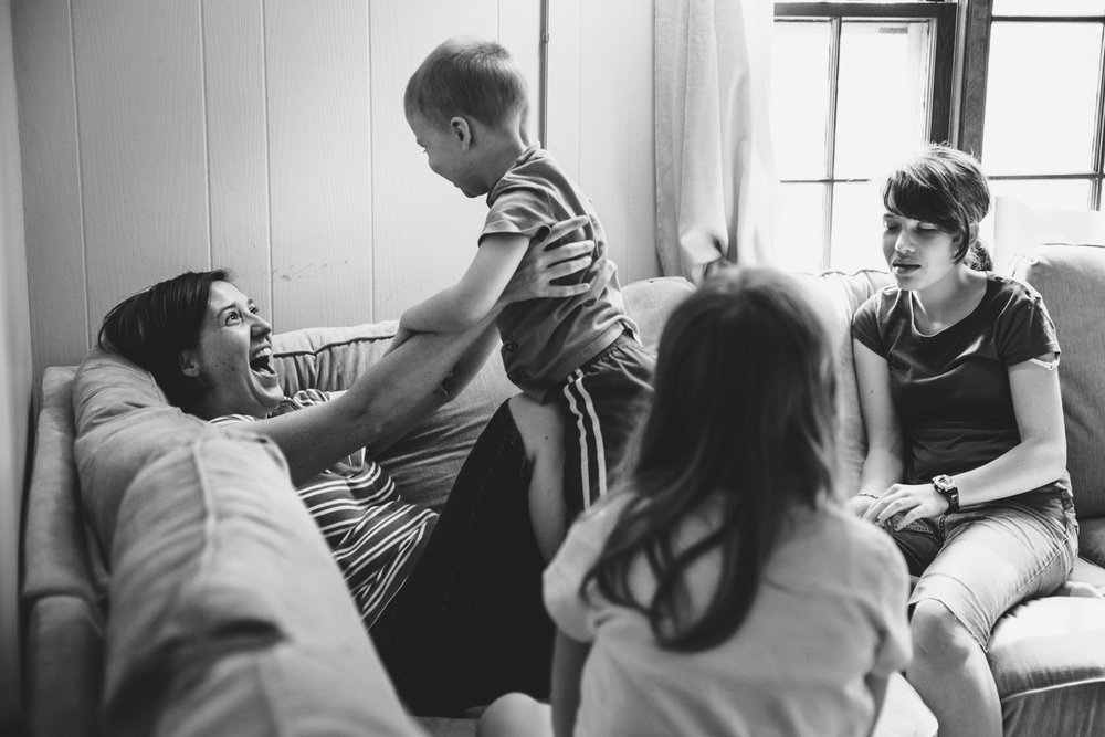 Mother enjoying her children.