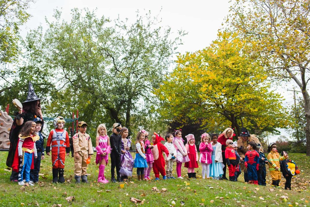 Kids dressed up for Halloween at school.