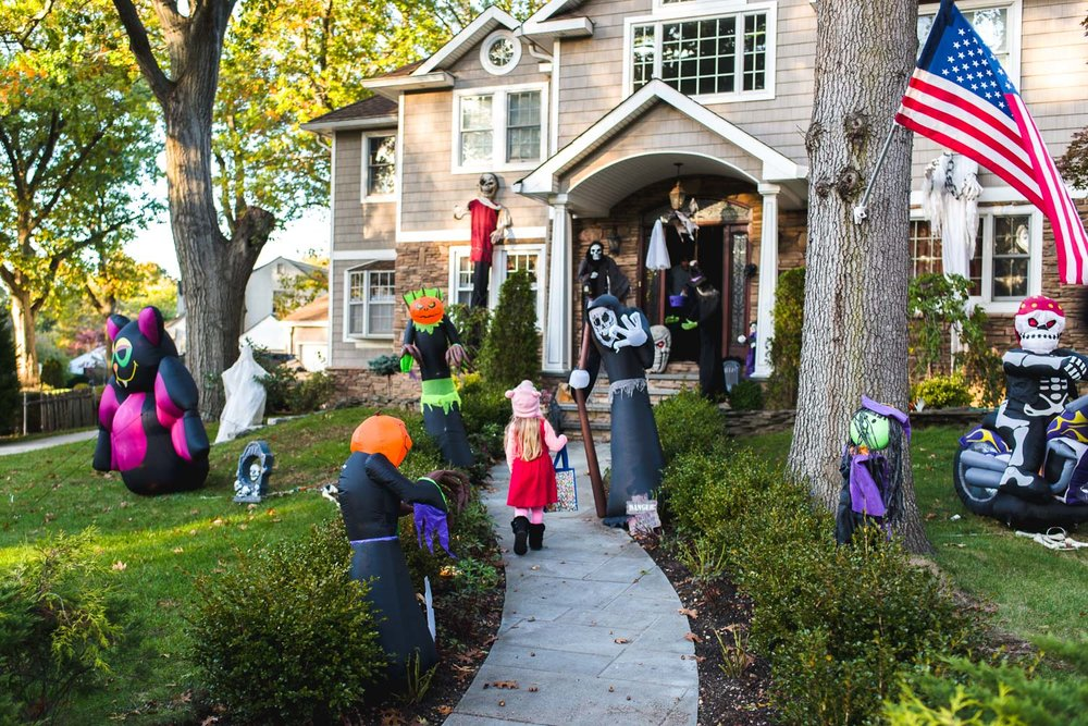 On Halloween. I was pretty impressed Lila went up to the door at this house on her own!