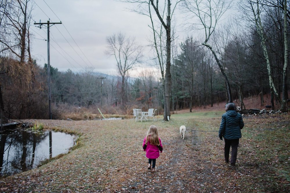 Lila, Marge & Riley walking by the pond.