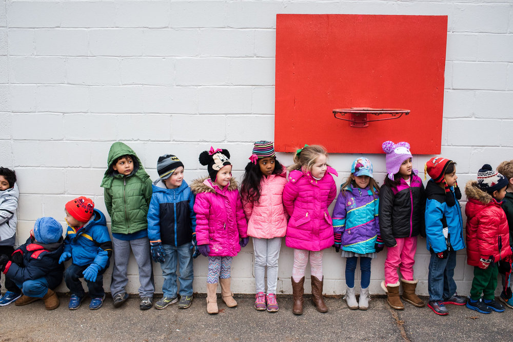 Pre-K kids lined up after recess.