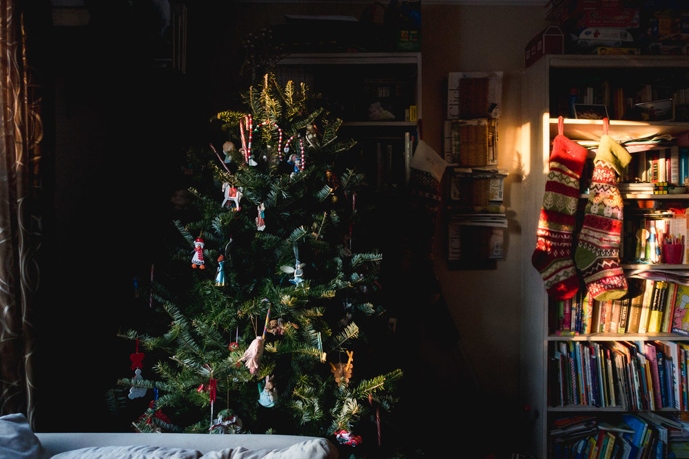 Christmas tree and stockings in late afternoon light,