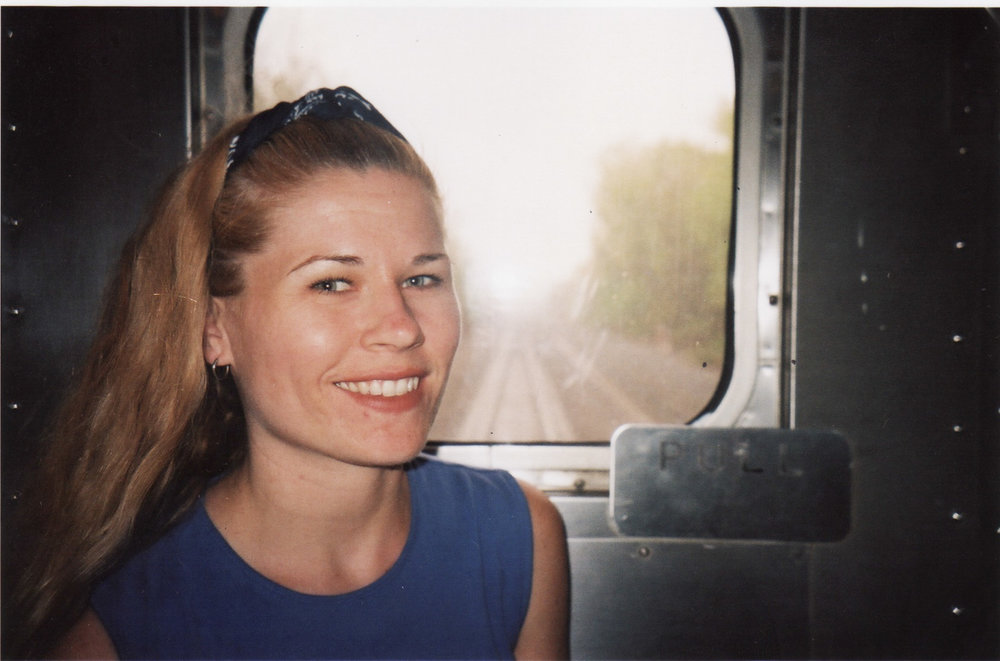 On Amtrak going cross-country, 2002.