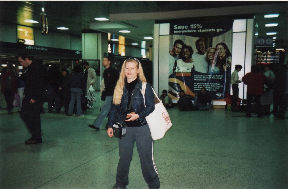 Arriving at Penn Station, 2002.