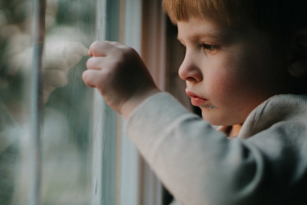 Portrait of a little boy looking out a window.