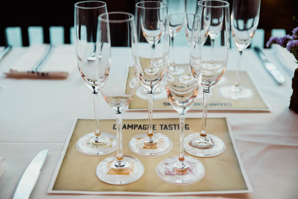 Champagne glasses set out for tasting.