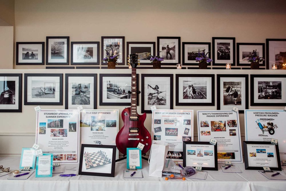 Auction items at the Dravet Foundation fundraiser.