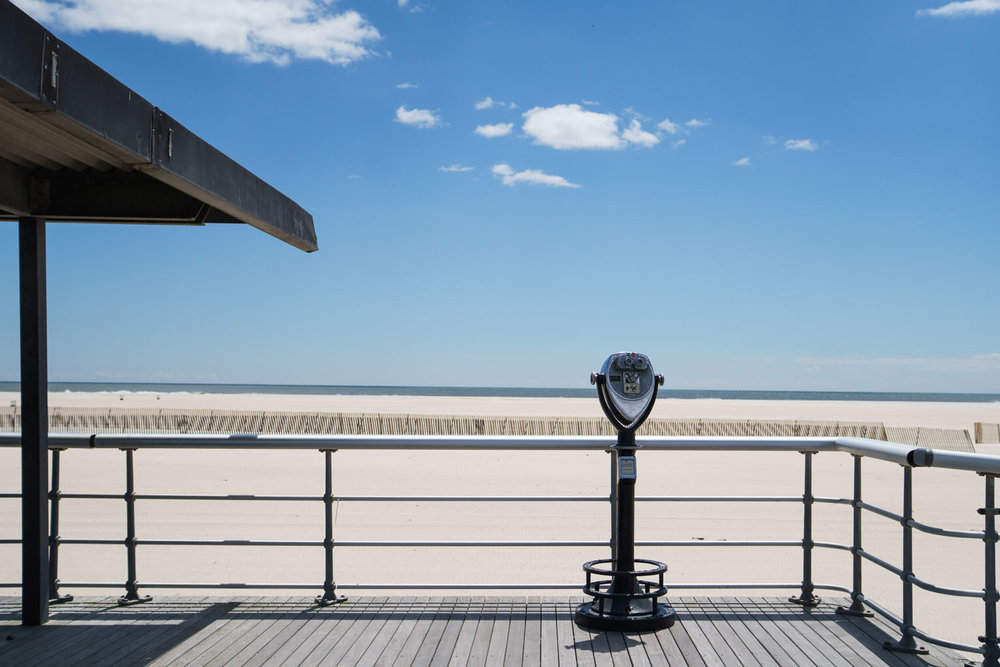 A telescope at an empty Jones Beach.