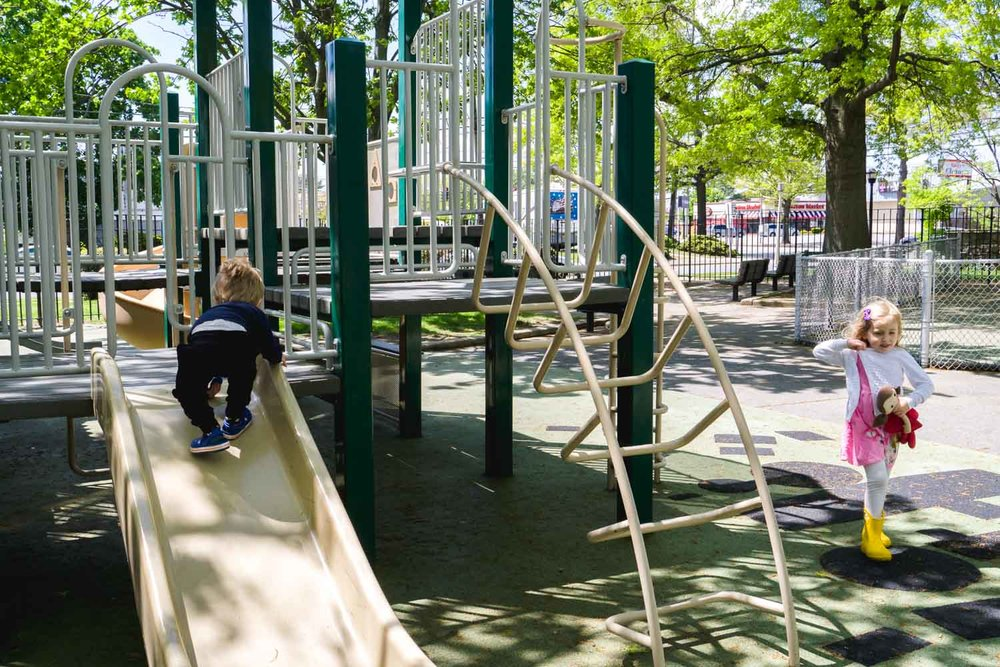 Children play at the playground.