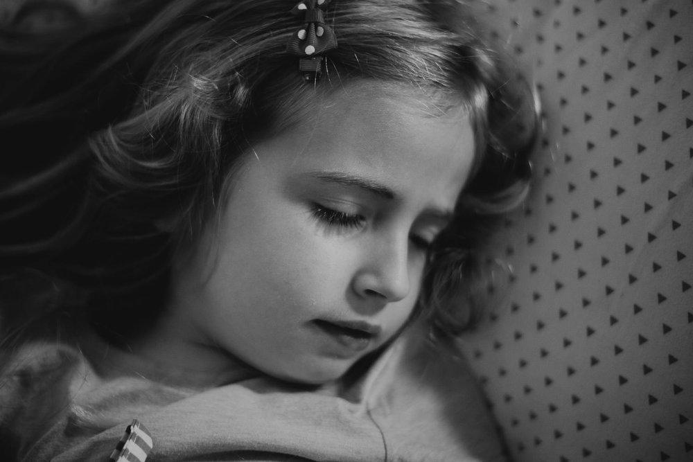 Portrait of a little girl sleeping.