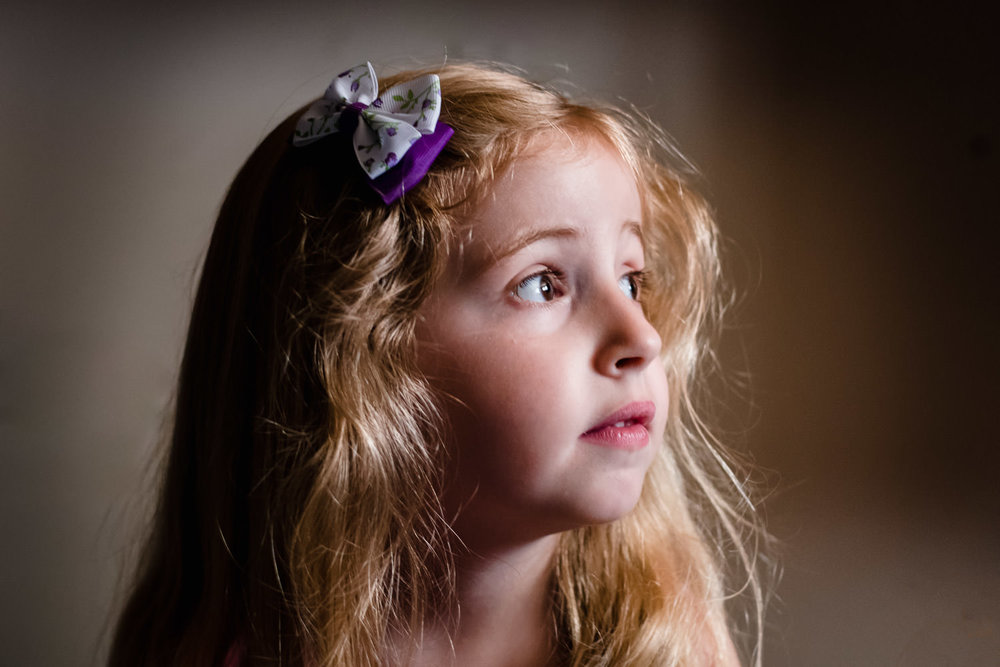 Portrait of a little girl with blonde hair.