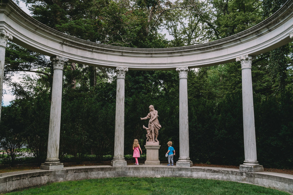 Kids explore Old Westbury Gardens.