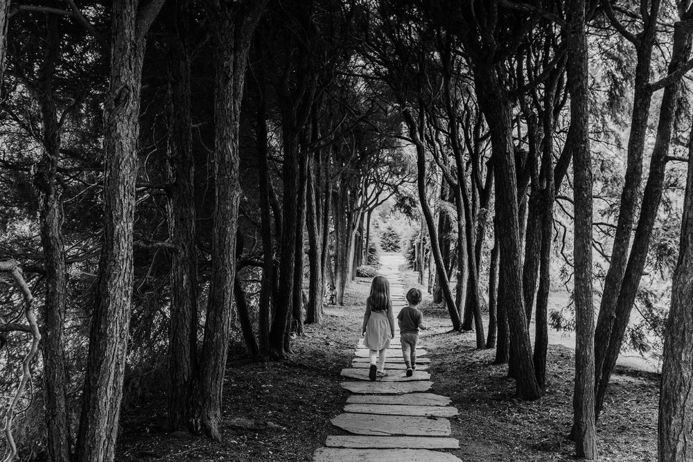 Two kids walk through a dark hallway of trees at Old Westbury Gardens.