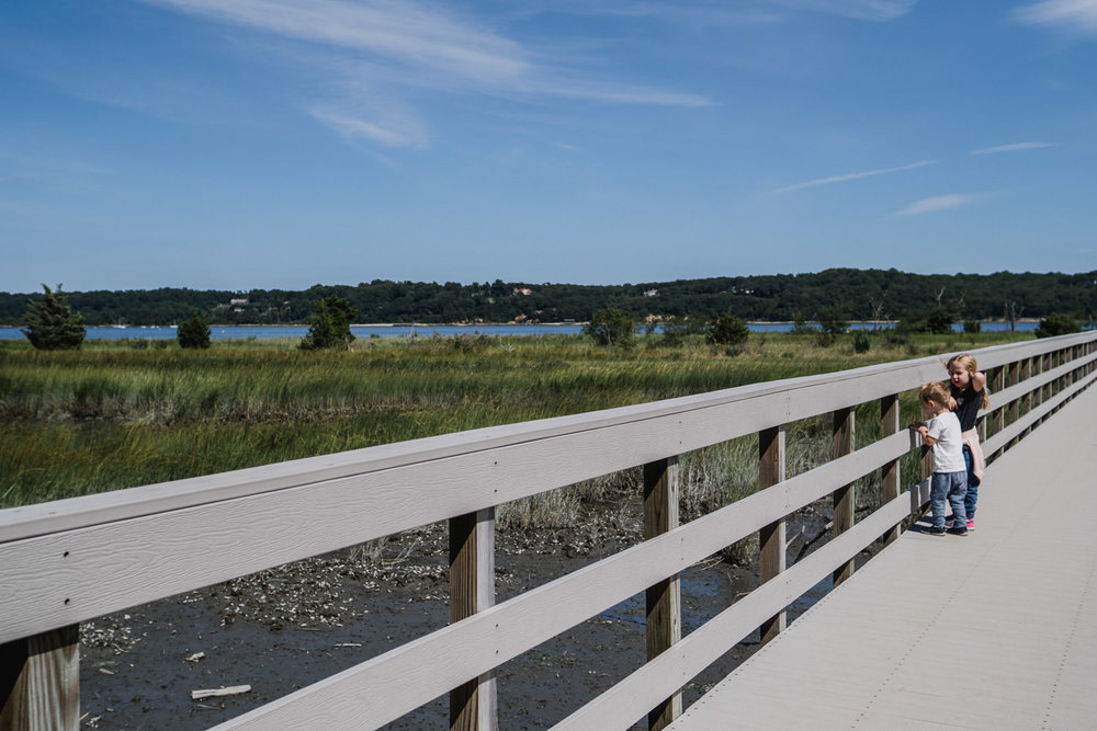 The boardwalk down to the beach at Sagamore Hill.
