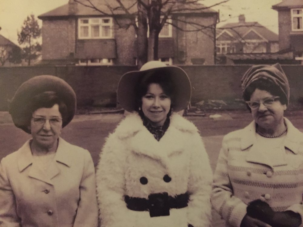 Sadie (my grandmother), Pauline (my mom) - in the shaggy white coat - and Kitty.