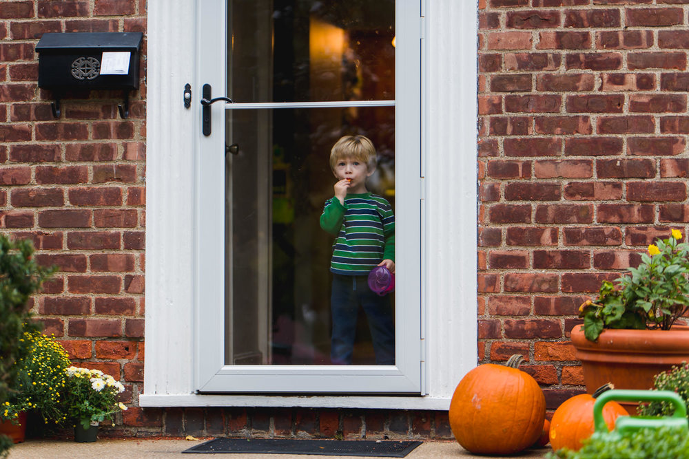 A little boy looks out the front door where there are pumpkins on the porch.