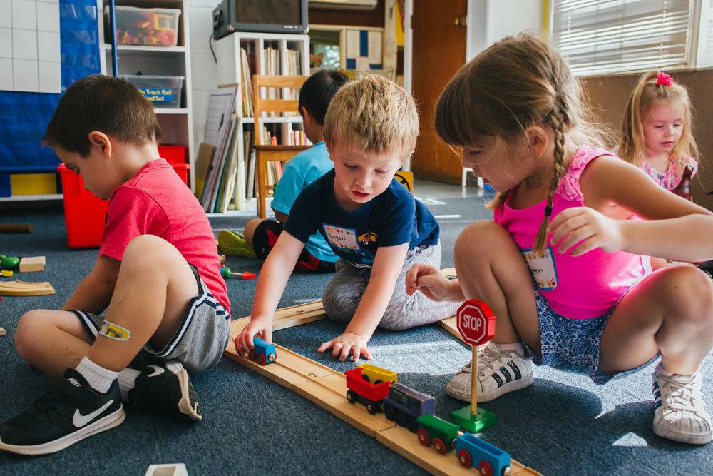 Kids play at preschool.