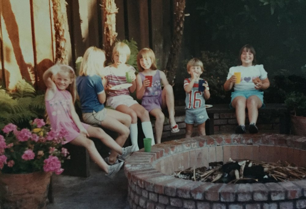 With my brother, sister and some friends in the backyard of the Sunnyvale house.