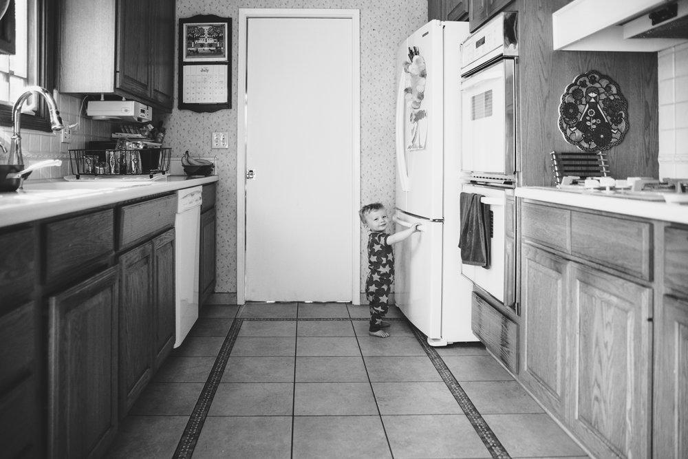 Logan in my parents' kitchen.