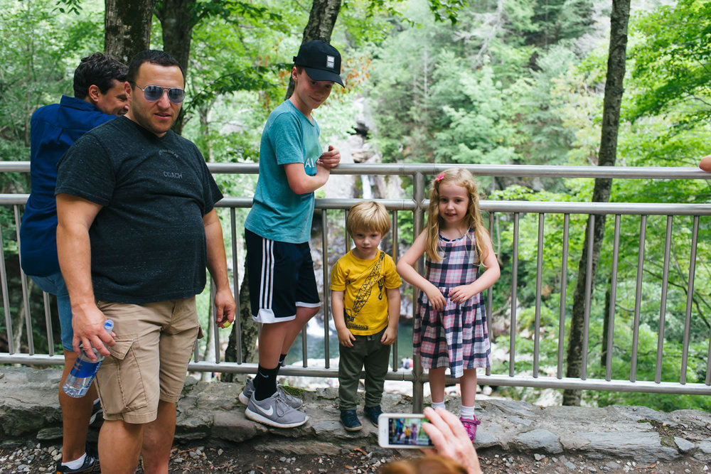 A family gathers at Bash Bish Falls.