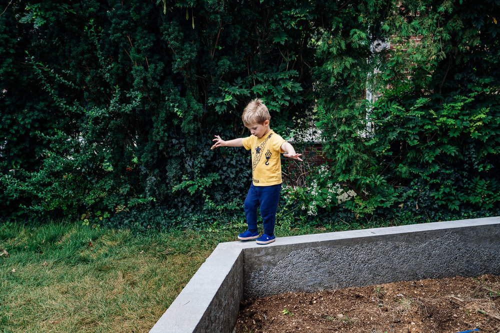 A little boy balances on a cement wall.