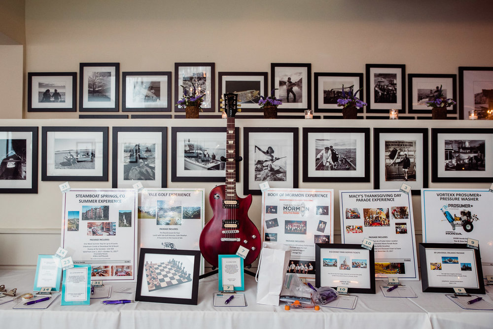 Auction items at an event at the Farmer and the Fish.