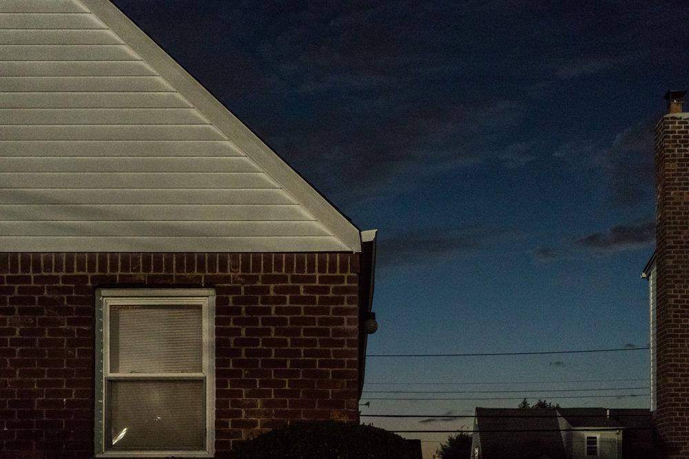 A house at dusk.