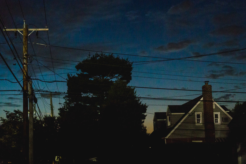A neighborhood just before dark.