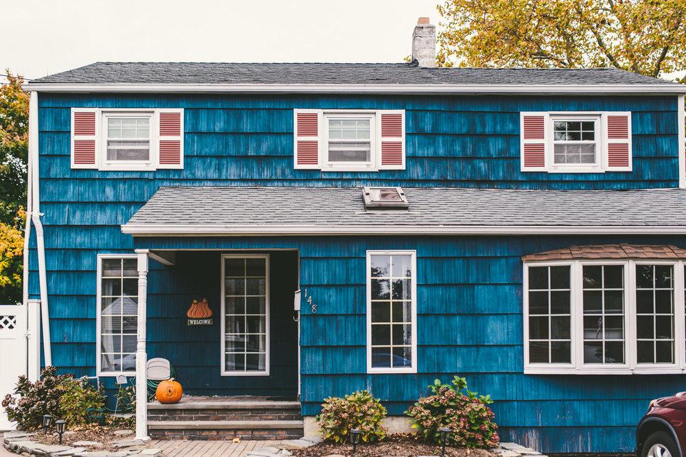 A blue house on Long Island.