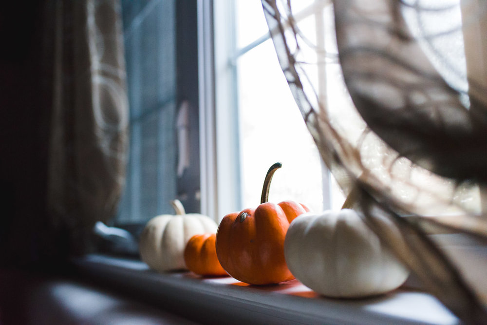 Small pumpkins decorate a window sill.