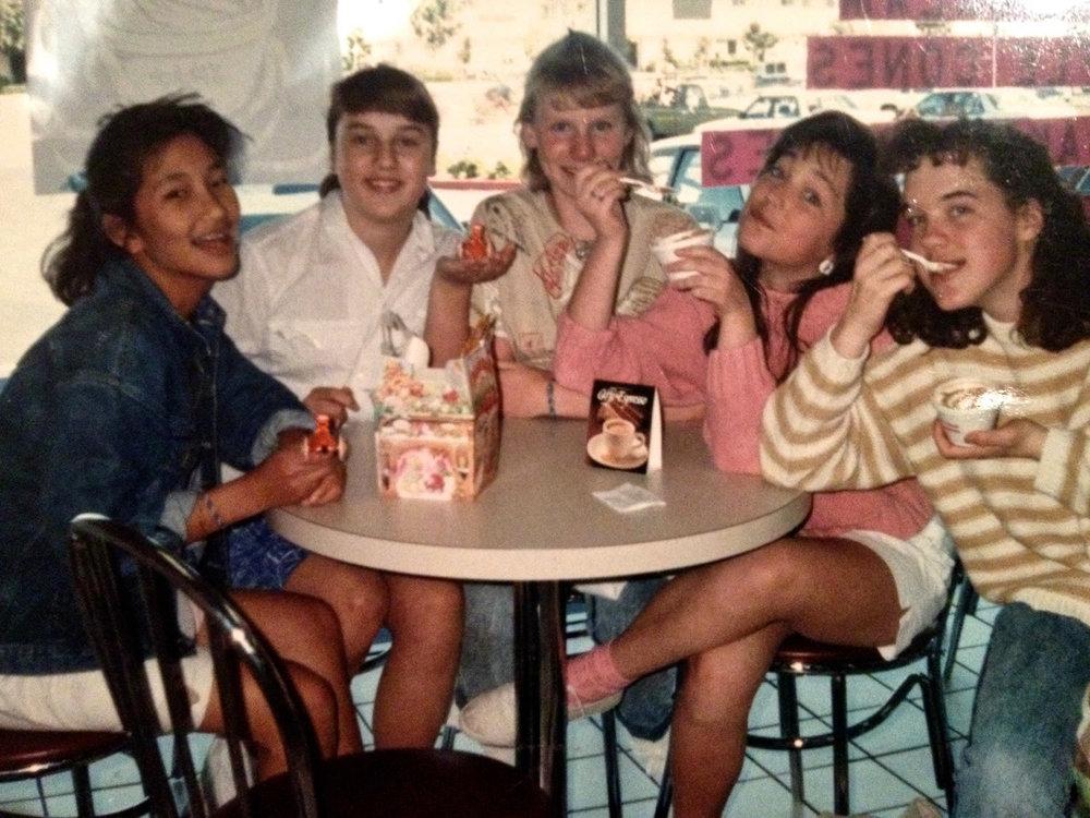 Junior high school girls in the 1980's.