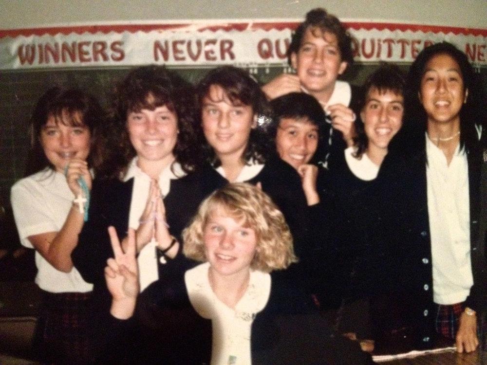 Catholic school girls in the 1980's.