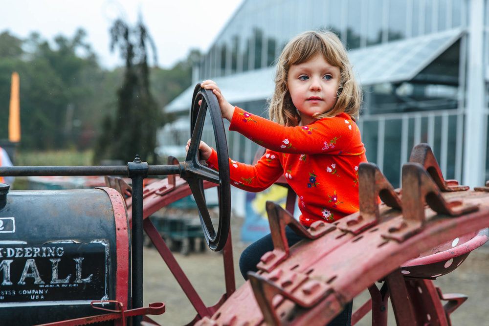 A little girl sits on top of a tractor.