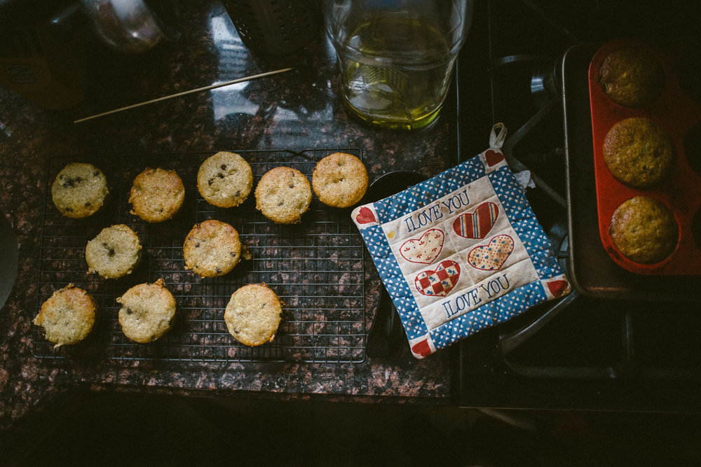 Baking muffins.